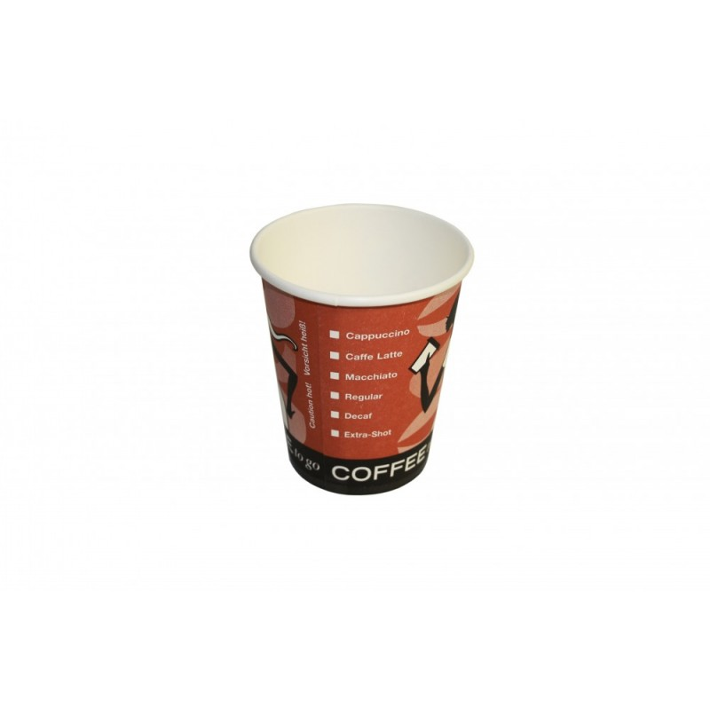 "US-Coffee-Cup - To Go Kaffeebecher aus Pappe - ""Coffee Grabbers"" - orange - 200ml / 8oz"